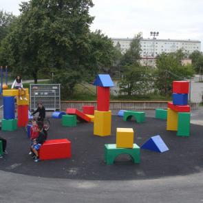 Public work/offentligt uppdrag: Lyckan är en gul kloss, Klockarbergsparken Brandbergen 2007